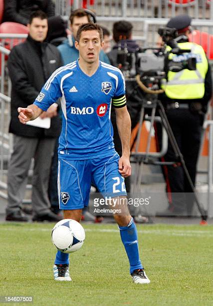 Davy Arnaud of the Montreal Impact moves the ball during MLS action against the Toronto FC at BMO Field October 20 2012 in Toronto Ontario Canada