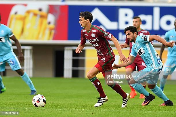 Davy De Fauw defender of SV Zulte Waregem and Kenneth Saief midfielder of KAA Gent pictured during the Jupiler Pro League match between KAA Gent and...