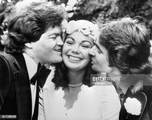 Davy Jones right getting in on the act when Micky Dolenz married 23 year old Trina Dow of Saffron Walden at the tiny church of St Mary's Virgin at...
