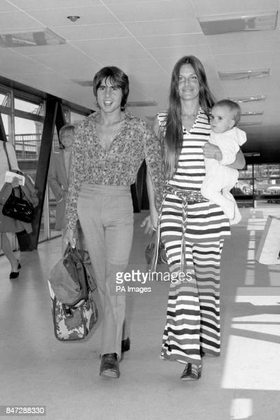 Davy Jones the only English member of the American pop group The Monkees with his wife Linda and their baby daughter Talia aged ten months on arrival...