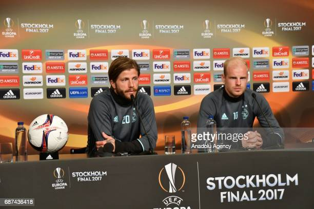 Davy Klaassen and Lasse Schone of Ajax hold a press conference ahead of the UEFA Europa League final match between Ajax and Manchester United at the...
