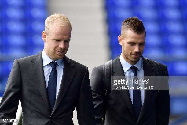 Davy Klaassen and Morgan Schneiderlin arrives before the Premier League match between Everton and AFC Bournemouth at Goodison Park on September 23...