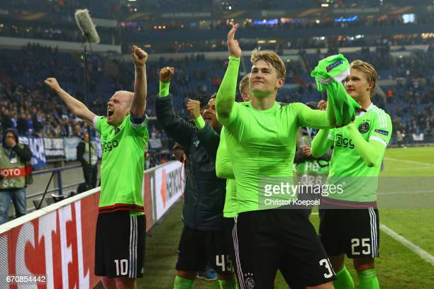 Davy Klaassen Matthijs de Ligt and Kasper Dolberg of Amsterdam celebrate after losing 23 but qualified for the semi final match after the UEFA Europa...