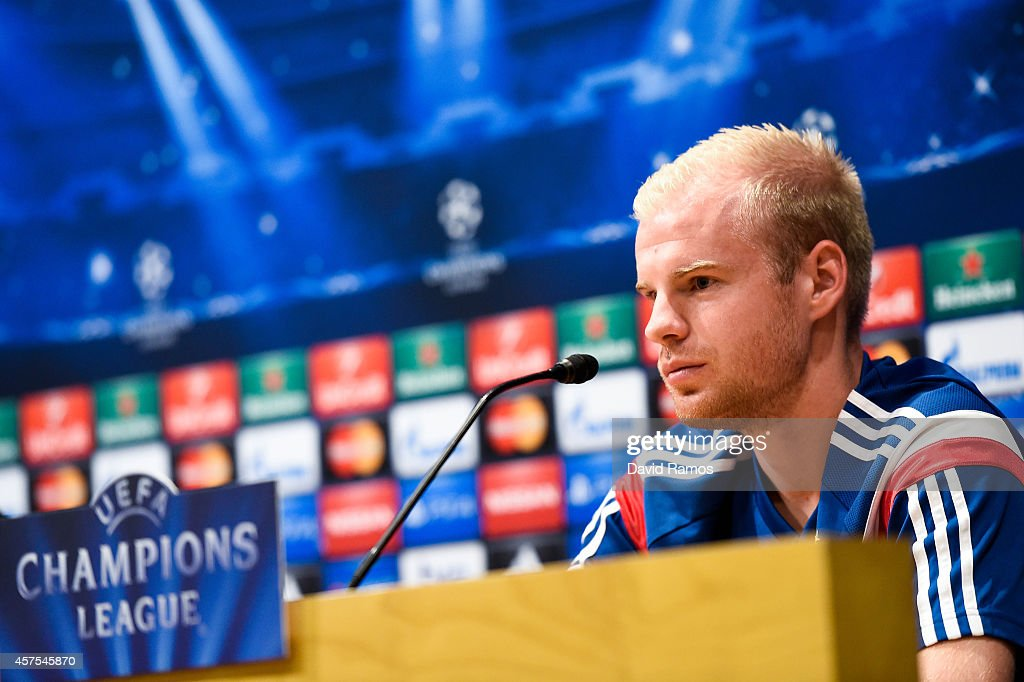 Davy Klaassen of AFC Ajax faces the media during a press conference ahead of their UEFA Champions League Group F match against FC Barcelona at Camp Nou Stadium on October 20, 2014 in Barcelona, Spain.