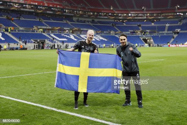 Davy Klaassen of Ajax Abdelhak Nouri of Ajax with Swedish flagduring the UEFA Europa League semi final match between Olympique Lyonnais and Ajax...