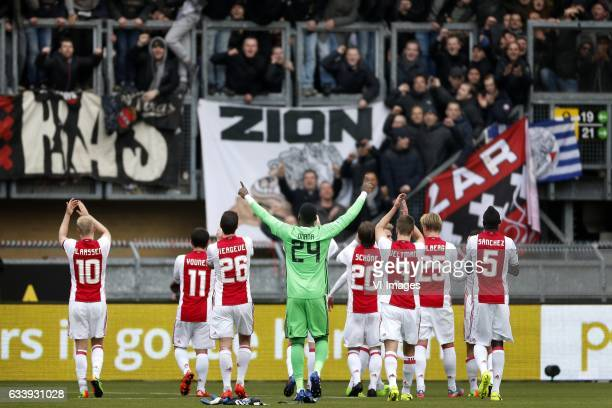 Davy Klaassen of Ajax Amin Younes of Ajax Nick Viergever of Ajax Andre Onana of Ajax Lasse Schone of Ajax Joel Veltman of Ajax Kasper Dolberg of Ajax...