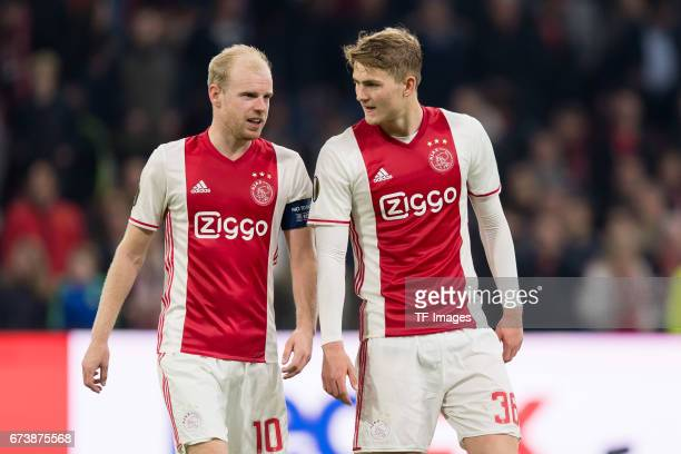 Davy Klaassen of Ajax Amsterdam and Matthijs de Ligt of Ajax Amsterdam looks on during the UEFA Europa League Quarter Final first leg match between...