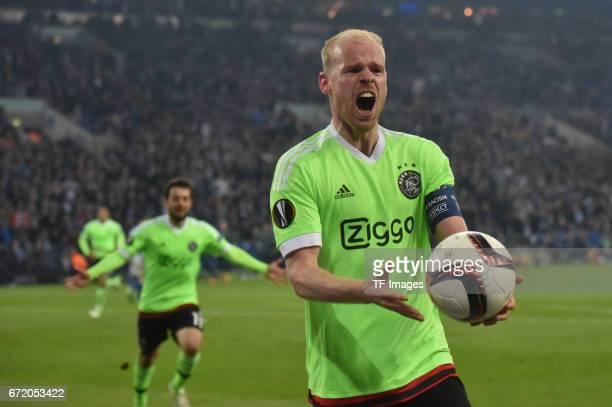 Davy Klaassen of Ajax Amsterdam celebrates after scoring his team`s goal during the UEFA Europa League quarter final second leg match between FC...