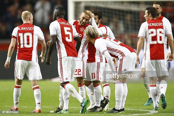 Davy Klaassen of Ajax Amsterdam Davinson Sanchez of Ajax Amsterdam Hakim Ziyech of Ajax Amsterdam scored Amin Younes of Ajax Amsterdam Kasper Dolberg...