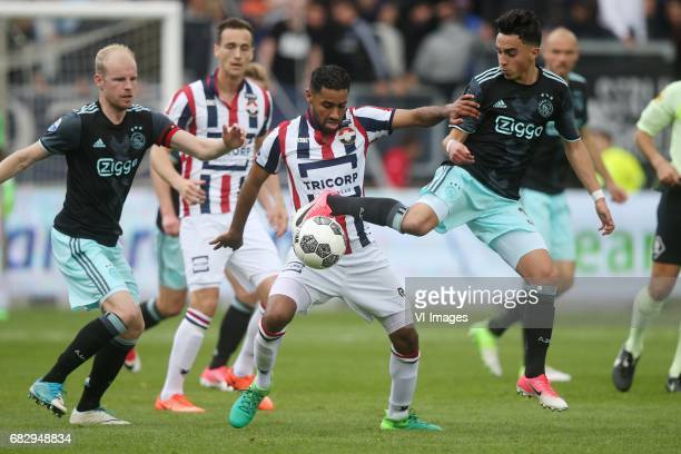 Davy Klaassen of Ajax Anouar Kali of Willem II Abdelhak Nouri of Ajaxduring the Dutch Eredivisie match between Willem II Tilburg and Ajax Amsterdam...