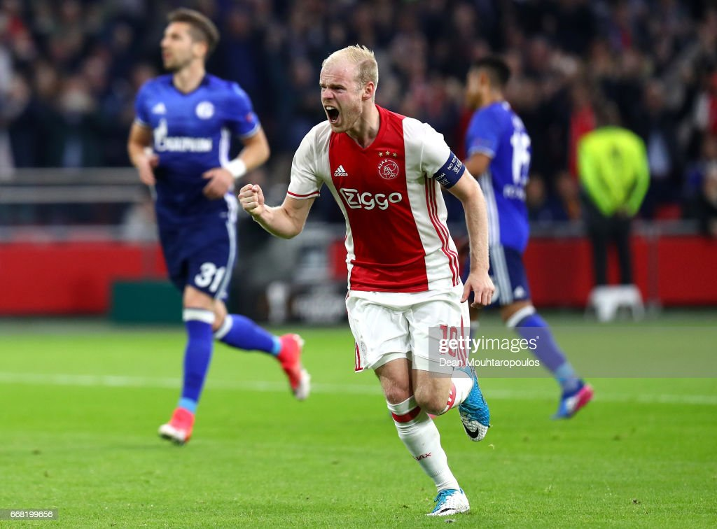 Davy Klaassen of Ajax celebrates after scoring his sides first goal during the UEFA Europa League quarter final first leg match between Ajax Amsterdam and FC Schalke 04 at Amsterdam Arena on April 13, 2017 in Amsterdam, Netherlands.