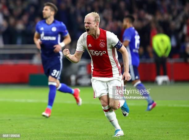 Davy Klaassen of Ajax celebrates after scoring his sides first goal during the UEFA Europa League quarter final first leg match between Ajax...