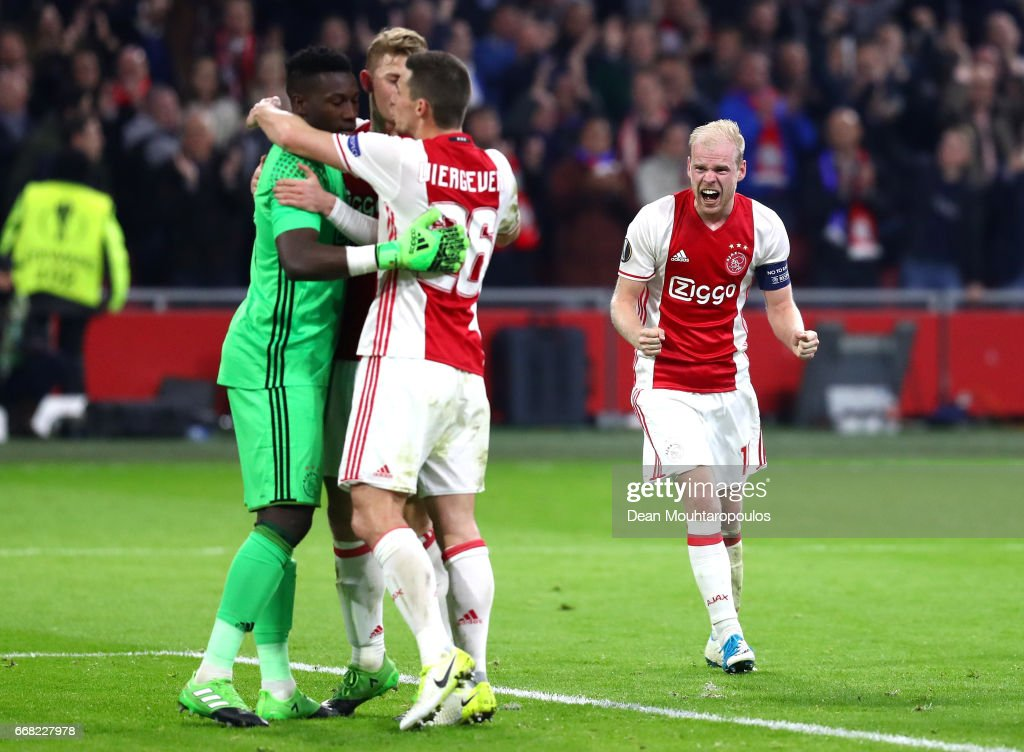 Davy Klaassen of Ajax celebrates after the full time whistle ring the UEFA Europa League quarter final first leg match between Ajax Amsterdam and FC Schalke 04 at Amsterdam Arena on April 13, 2017 in Amsterdam, Netherlands.