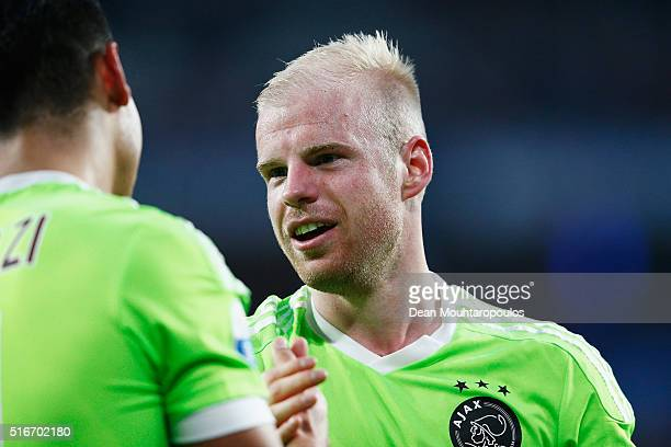 Davy Klaassen of Ajax celebrates with team mate Anwar El Ghazi after victoty in the Eredivisie match between PSV Eindhoven and Ajax Amsterdam held at...