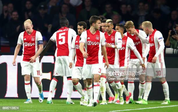 Davy Klaassen of Ajax celebrates with team mates after he scores his and his sides second goal during the UEFA Europa League quarter final first leg...