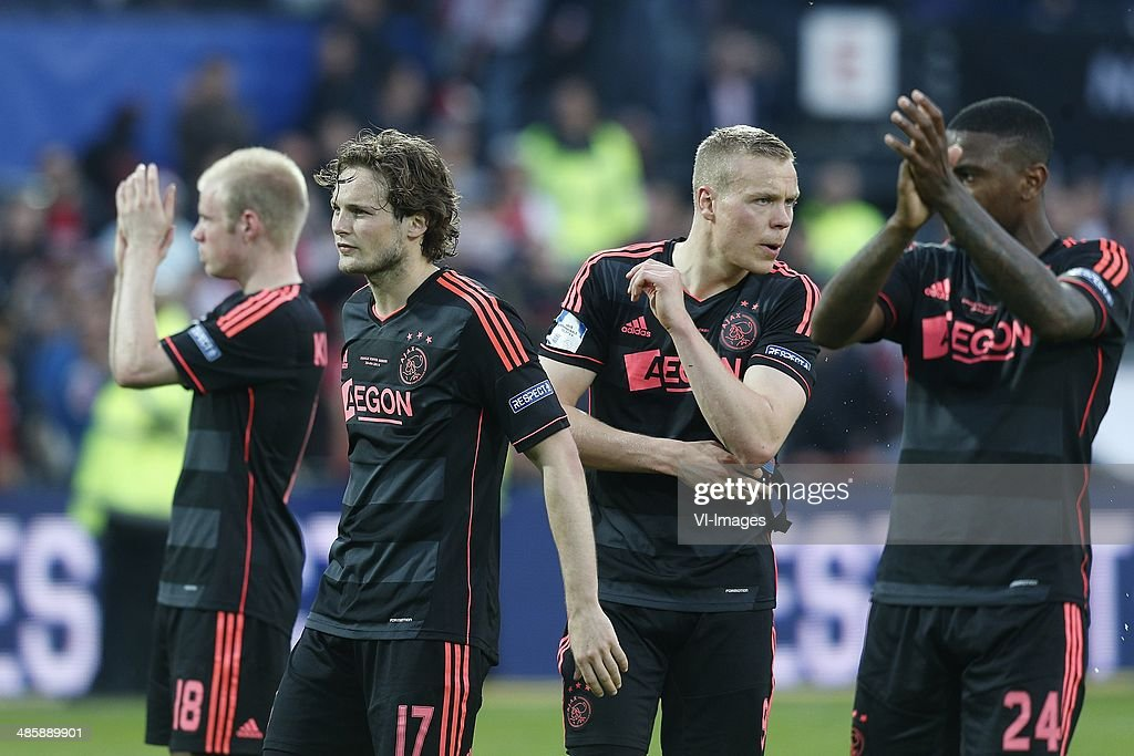 Davy Klaassen of Ajax Daley Blind of Ajax Kolbeinn Sigthorsson of Ajax Stefano Denswil of Ajax during the Dutch Cup final match between Pec Zwolle...