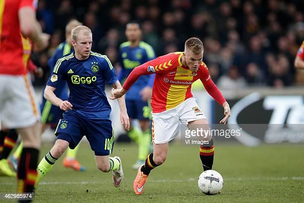 Davy Klaassen of Ajax Jeffrey Rijsdijk of Go Ahead Eagles during the Dutch Eredivisie match between Go Ahead Eagles and Ajax Amsterdam at The...