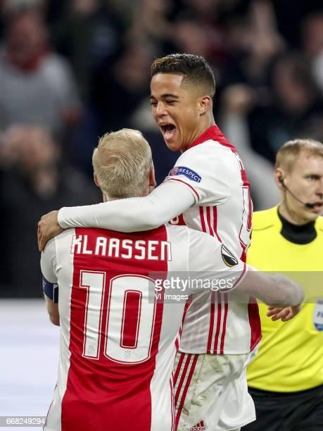 Davy Klaassen of Ajax Justin Kluivert of Ajaxduring the UEFA Europa League quarter final match between Ajax Amsterdam and FC Schalke 04 at the...