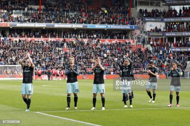 Davy Klaassen of Ajax Kasper Dolberg of Ajax Joel Veltman of Ajax Hakim Ziyech of Ajax Nick Viergever of Ajax Justin Kluivert of Ajaxduring the Dutch...