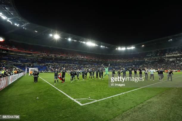 Davy Klaassen of Ajax Matthijs de Ligt of Ajax Justin Kluivert of Ajax Amin Younes of Ajax Nick Viergever of Ajax Kenny Tete of Ajax Lasse Schone of...