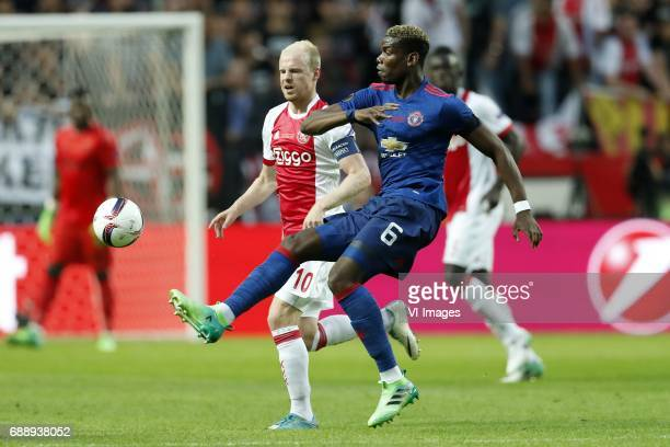 Davy Klaassen of Ajax Paul Pogba of Manchester Unitedduring the UEFA Europa League final match between Ajax Amsterdam and Manchester United at the...
