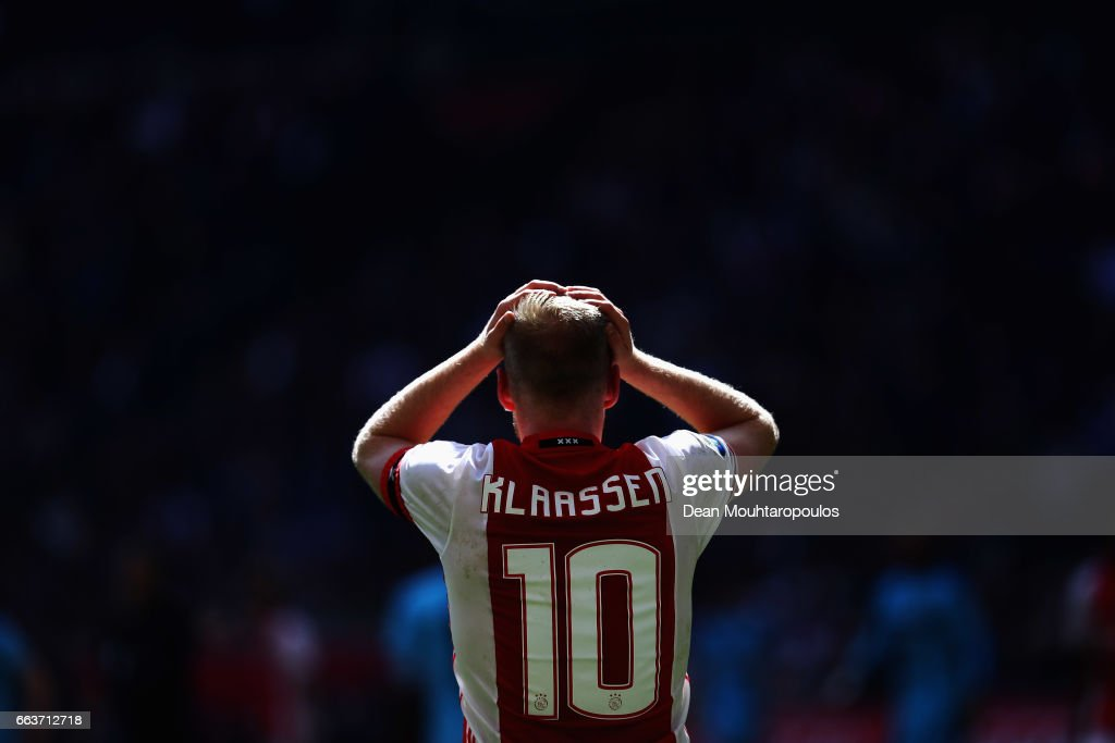 Davy Klaassen of Ajax reacts to a missed chance on goal during the Dutch Eredivisie match between Ajax Amsterdam and Feyenoord at Amsterdam ArenA on April 2, 2017 in Amsterdam, Netherlands.