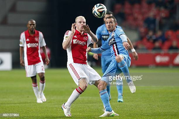 Davy Klaassen of Ajax Robbie Haemhouts of Willem II during the Dutch Eredivisie match between Ajax Amsterdam and Willem II Tilburg at the Amsterdam...