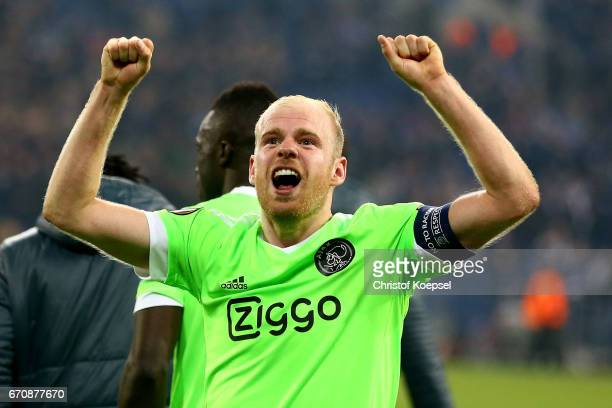 Davy Klaassen of Amsterdam celebrates after losing 23 but qualified for the semi final match after the UEFA Europa League quarter final second leg...