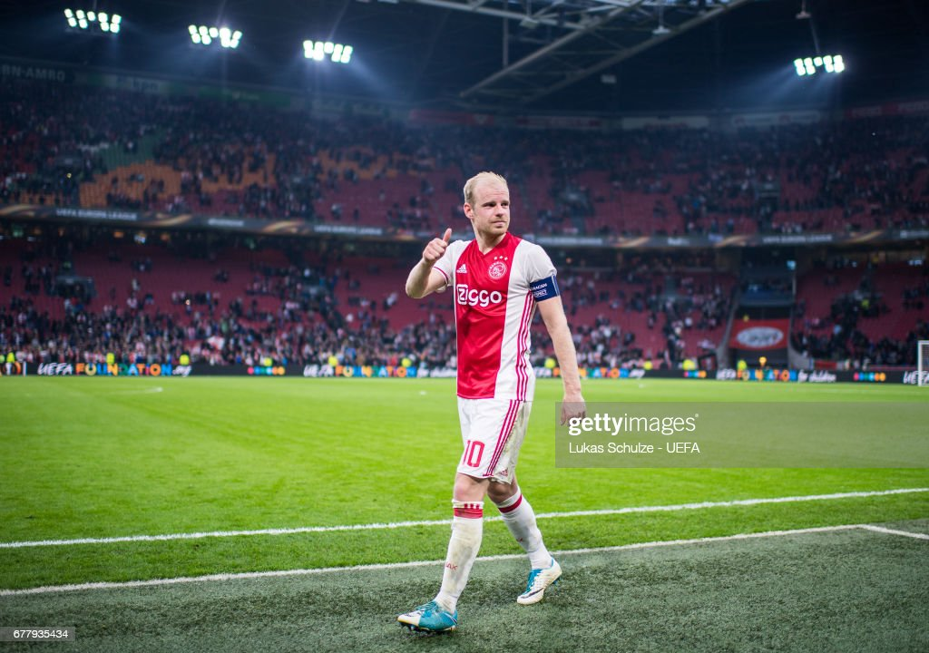 Davy Klaassen of Amsterdam reacts after winning the Uefa Europa League, semi final first leg match, between Ajax Amsterdam and Olympique Lyonnais at Amsterdam Arena on May 3, 2017 in Amsterdam, Netherlands.