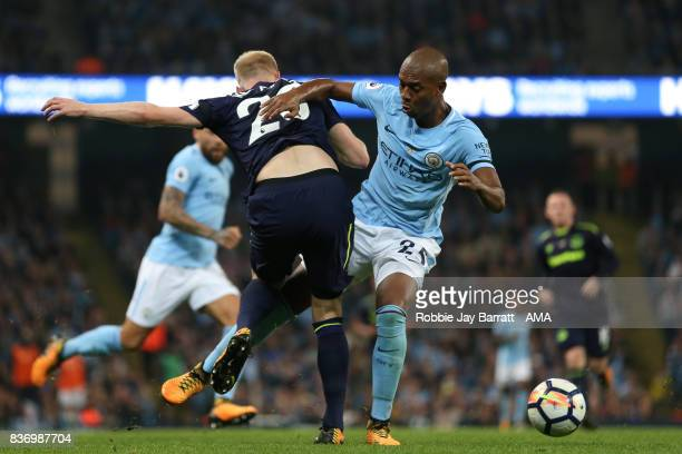 Davy Klaassen of Everton and Fernandinho of Manchester City during the Premier League match between Manchester City and Everton at Etihad Stadium on...
