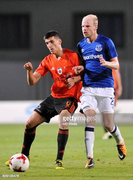 Davy Klaassen of Everton and Kristi Qose of Ruzomberok in action during the UEFA Europa League Qualifier between MFK Ruzomberok and Everton on August...