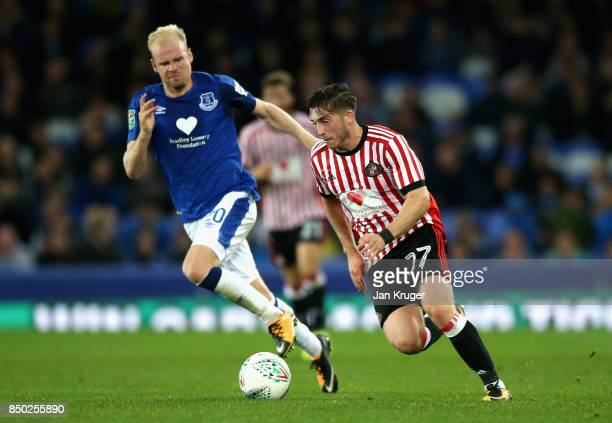 Davy Klaassen of Everton and Lynden Gooch of Sunderland battle for possession during the Carabao Cup Third Round match between Everton and Sunderland...