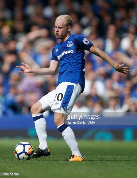 Davy Klaassen of Everton during the Premier League match between Everton and Stoke City at Goodison Park on August 12 2017 in Liverpool England