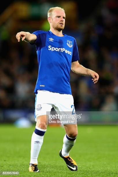 Davy Klaassen of Everton gestures during the UEFA Europa League Qualifying PlayOffs round first leg match between Everton FC and Hajduk Split at...