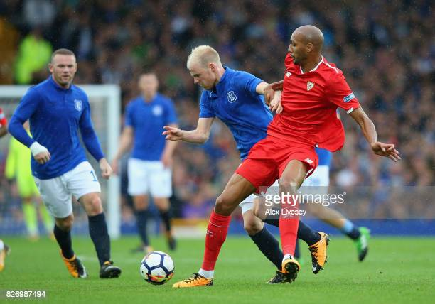 Davy Klaassen of Everton is tackled by Steven N'Zonzi of Sevilla during a preseason friendly match between Everton and Sevilla at Goodison Park on...