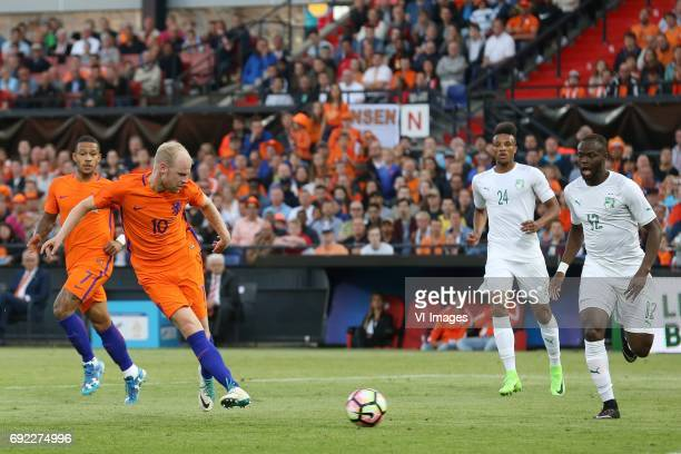 Davy Klaassen of Holland Jean Philippe Gbamin of Ivory Coast Diomande Ismael of Ivory Coastduring the friendly match between The Netherlands and...