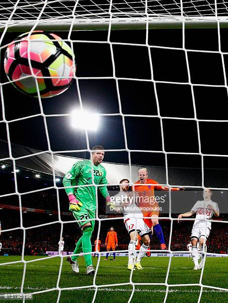 Davy Klaassen of the Netherlands shoots and scores his teams third goal of the game past Goalkeeper Andrei Harbunow of Belarus during the FIFA 2018...