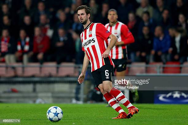Davy Proepper of Eindhoven runs with the ball during the UEFA Champions League Group B match between PSV Eindhoven and VfL Wolfsburg at Philips...