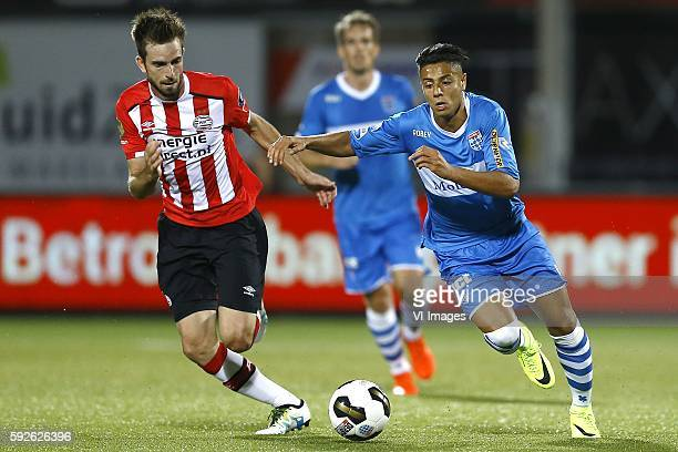Davy Propper Hachim Mastour during the Dutch Eredivisie match between PEC Zwolle and PSV at the MAC#179PARK stadion on august 20 2016 in Zwolle the...