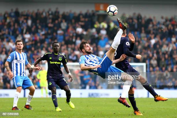Davy Propper of Brighton and Hove Albion attempts and overhead kick during the Premier League match between Brighton and Hove Albion and Everton at...