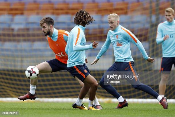 Davy Propper of Holland Nathan Ake of Holland Donny van de Beek of Holland Matthijs de Ligt of Holland during a training session prior to the FIFA...