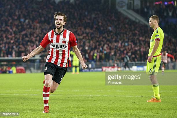 Davy Propper of PSV Aleksei Berezutski of CSKA Moscow during the UEFA Champions League match between PSV Eindhoven and CSKA Moscow on December 8 2015...