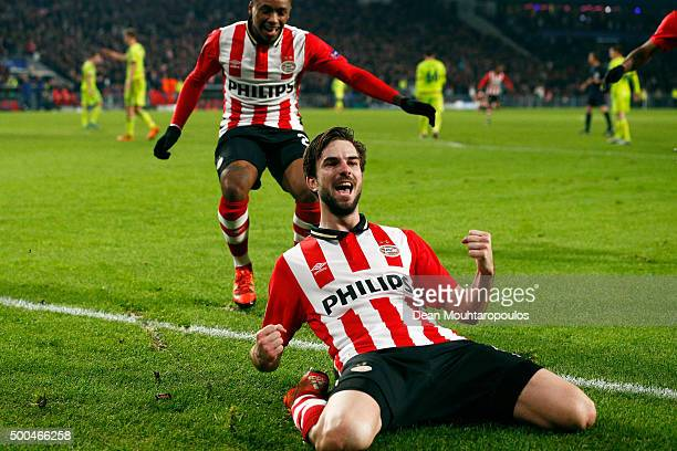 Davy Propper of PSV celebrates scoring his teams second goal of the game during the group B UEFA Champions League match between PSV Eindhoven and...