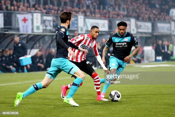 Davy Propper of PSV Jerson Cabral of Sparta Rotterdam Jurgen Locadia of PSVduring the Dutch Eredivisie match between Sparta Rotterdam and PSV...