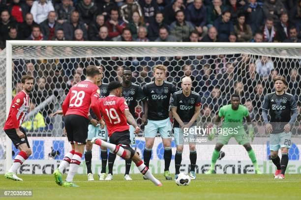 Davy Propper of PSV Marco van Ginkel of PSV Hakim Ziyech of Ajax Jurgen Locadia of PSV Davinson Sanchez of Ajax Matthijs de Ligt of Ajax Davy...