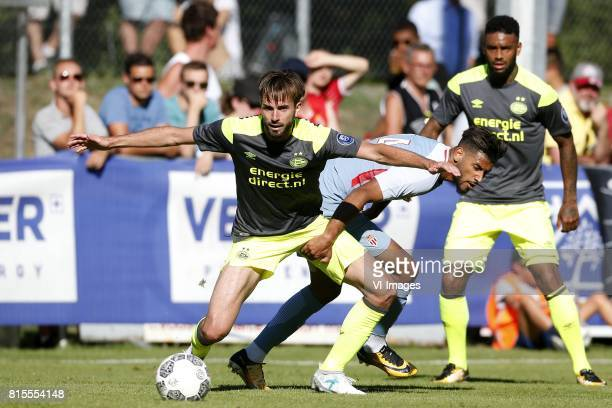 Davy Propper of PSV Youssef Ait Bennasser of AS Monaco during the friendly match between AS Monaco and PSV Eindhoven at Stade StMarc on July 16 2017...