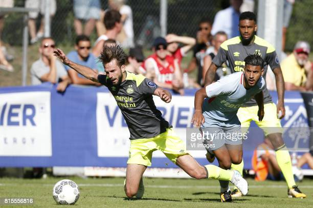 Davy Propper of PSV Youssef Ait Bennasser of AS Monaco Jurgen Locadia of PSV during the friendly match between AS Monaco and PSV Eindhoven at Stade...