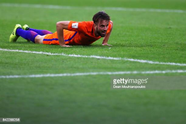 Davy Propper of the Netherlands celebrates scoring his teams third goal of the game during the FIFA 2018 World Cup Qualifier between the Netherlands...
