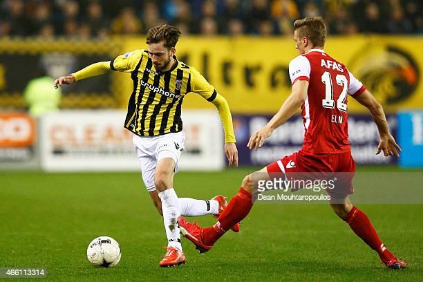 Davy Propper of Vitesse and Viktor Elm of AZ battle for the ball during the Dutch Eredivisie match between Vitesse Arnhem and AZ Alkmaar held at...