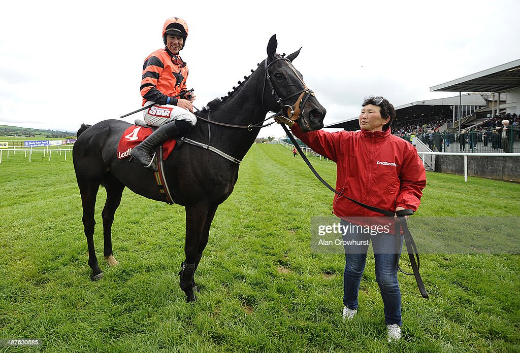Davy Russell riding Jetson win The Ladbrokes World Series Hurdle at Punchestown racecourse on May 01, 2014 in Naas, Ireland.